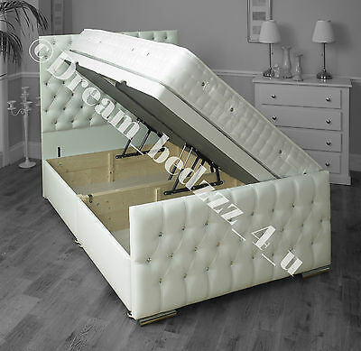 Leather Lift Up Solid Wood Storage Divan Bed + Headboard + Footboard Upholstered