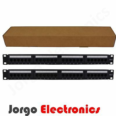 "2(Two) 19"" Inch 1RU CAT6 24 Port Patch Panel RJ45 Data Network Cabinet Server"
