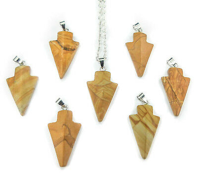Picture Jasper Arrowhead Necklace Petite Pendant V9 Healing Crystals And Stones