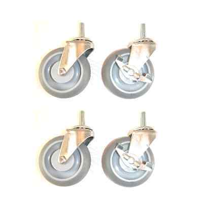 """(Pack of 4) Casters with Gray 3"""" Monotech Soft Wheels and 3/8"""" Threaded Stem 2 w"""