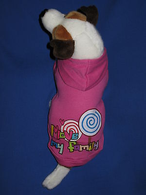 Hot Pink I Love My Family Dog Jacket Coat Hoodie - Small, Medium & Large