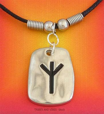 ALGIZ Rune Pendant Necklace DEFENCE Protection Eolh pagan 2sides pewter 28mm