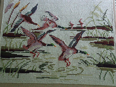 VTG COMPLETED NEEDLEPOINT. FLYING GEESE. 15 X 12 inches