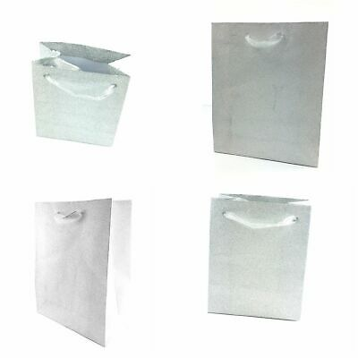 12 Pack Silver Glitter Gift Bags Ribbon Handles Christmas Gifts Birthdays