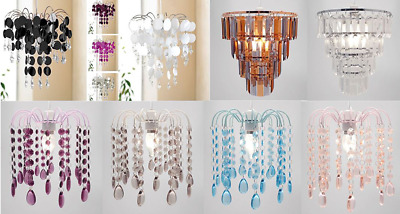Chandelier light fitting pendant CHIC lamp shade ceiling black silver pink plum