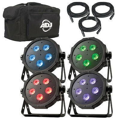 American DJ Mega Flat Tri Pak Plus 4 Lighting Fixtures + DMX Cables + Soft Bag