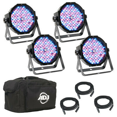 American DJ Mega Flat Pak Plus 4x LED Lighting Pars + DMX Cables + Soft Bag