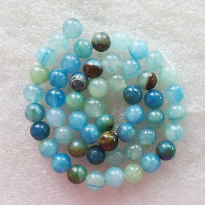 V0023177 Beautiful Sky Blue Lace Chalcedony Round Ball Loose Bead 15.5 inch 8mm