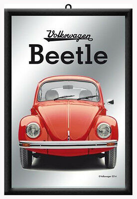 Framed Bar Mirror VOLKSWAGEN BEETLE Red 20x30cm VW Bubble Bug Licensed Product