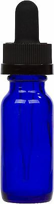 6 Pack Cobalt Blue Glass Bottle w/ Black Child Resistant Glass Dropper 0.5 oz