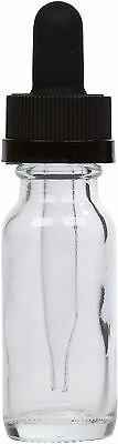 6 Pack Clear Glass Bottle w/ Black Child Resistant Glass Dropper 0.5 oz