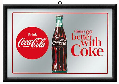 Framed Bar Mirror 'Drink COCA COLA 20x30cm 'Things go better with COKE' Licensed