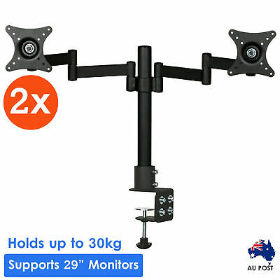 2x Dual HD LED Desk Mount Monitor Stand Bracket 2 Arm Holds Two LCD Screen TV AU