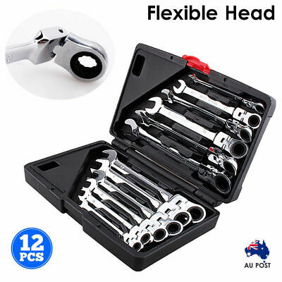 12 Piece Flexible Head Ratchet Wrench Repair Disassembly Combination Spanner Set