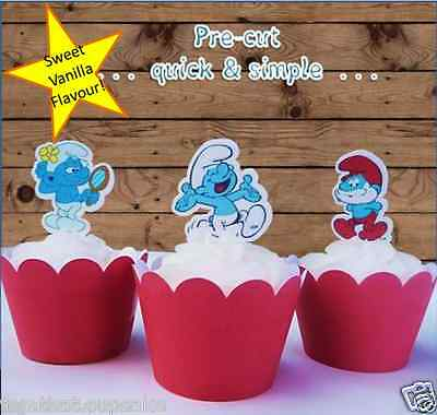 smurfs EDIBLE wafer cupcake cake toppers