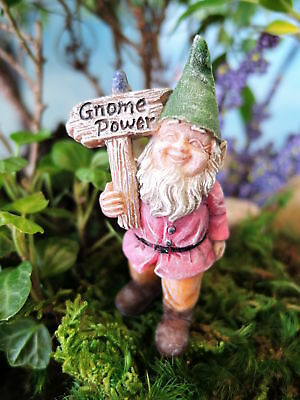 "2.5"" My Fairy Gardens Mini Buddy the Gnome Figure - Figurine with ""Power"" Sign"