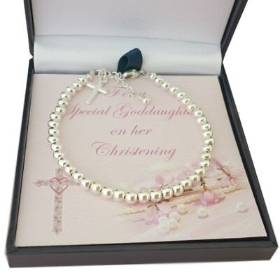 Sterling Silver Bracelet with Cross for Girl's Christening Day Gift Jewellery