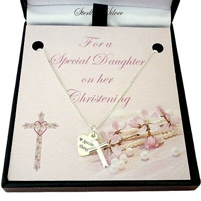Sterling Silver Necklace with Cross & Engraved Tag. Christening Gift for Girl.