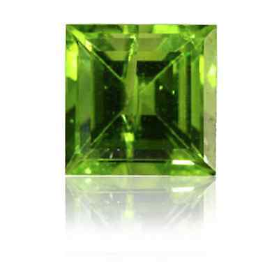 Natural Genuine Peridot Apple Green Square Faceted Loose Stones (2x2mm - 8x8mm)
