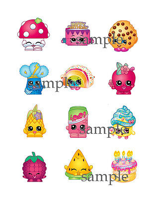 12 Assorted SHOPKINS Edible CUPCAKE Toppers ICING Image FREE SHIPPING Skylanders