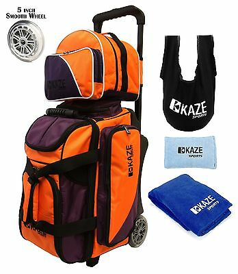 KAZE SPORTS 2 / 3 Ball Bowling Roller Bag Smooth Wheels Add On Spare Tote Seesaw