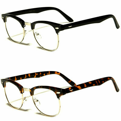 Retro Style Vintage Clear Lens Nerd Frames Glasses Mens Women Half Metal Frame