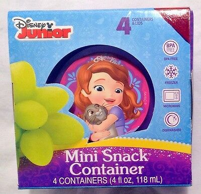 """4 Pack Of """"Disney Sofia The First"""" Mini Snack Containers With Lid"""