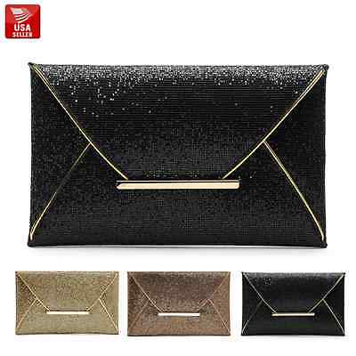 Womens Ladies Shiny Glitter Prom Bridal Evening Envelope Clutch Bag Purse