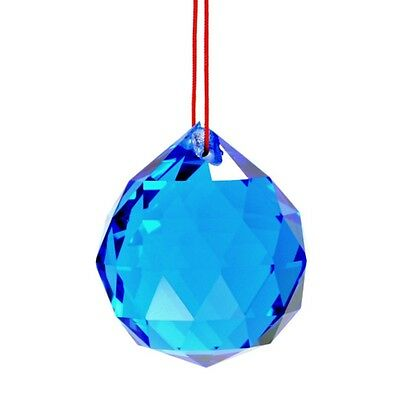 "BLUE FENG SHUI HANGING CRYSTAL BALL 1.5"" 40mm Sphere Prism Faceted Sun Catcher"
