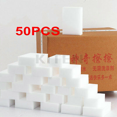 50PCS Cleaning Magic Sponge Eraser Melamine Cleaner Multi-functional Foam White
