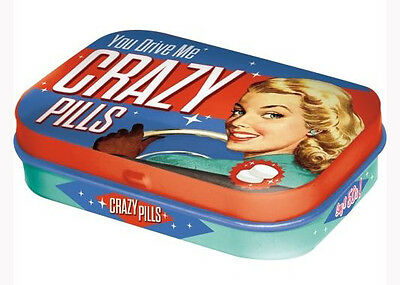 Retro Tin Metal Pill Box 'CRAZY PILLS' with Mints 6x4cm 1950's 'You Drive Me'