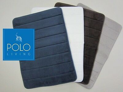 POLO memory foam bath mat - Luxuriously soft, rubber backed & quick drying