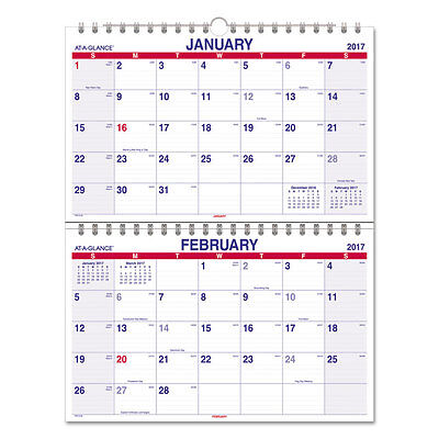 Move-A-Page Two-Month Wall Calendar, 22 x 28 1/2, Jan 2017-Jan 2018 (13 Month)