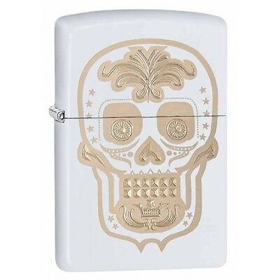 Zippo Gold Skull Day of the Dead White Matte Windproof Lighter 28792 New