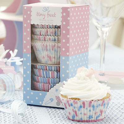 Pack Of 100 Tiny Feet Baby Shower / Christening Cupcake Cases - NEW - Pink/Blue
