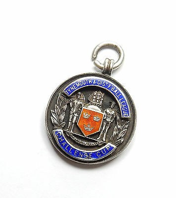 Antique Birmingham 1936 Silver ENAMEL TYNEMOUTH FOOTBALL ALBERT FOB MEDAL 16.3g