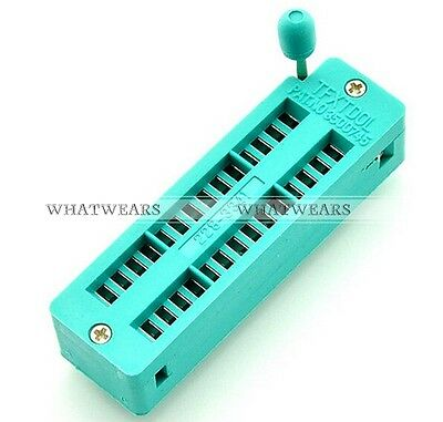 1x Green Narrow ZIF 28 Pins Test Universal IC Socket GTS