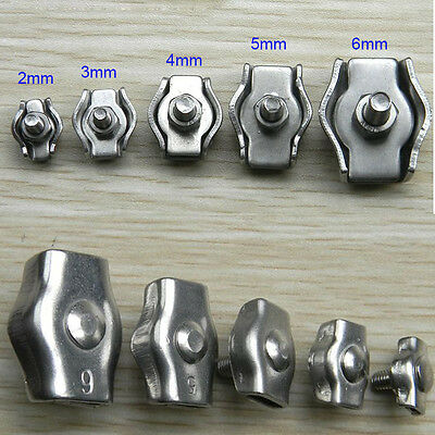 316 Stainless Steel Wire Rope Simple Grip Cable Clamp 2mm to 8mm