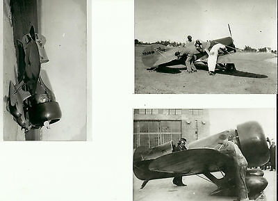 "SET OF 3: GEE BEE LOT #12 - 4"" X 6"" BLACK & WHITE AIRPLANE PRINTS"