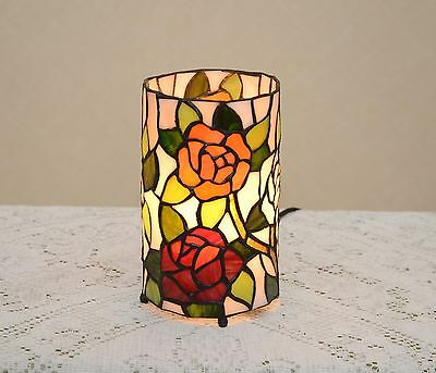 Stained Glass Handcrafted Round Desktop Rose Flower Night Light Table Lamp.