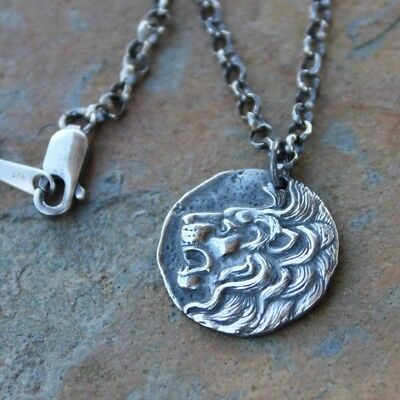 Lions Head Necklace - antiqued sterling silver Ancient Greek replica coin