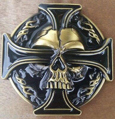"""♈SKULL Black and brass color ♈  3 1/4""""x 3 1/4"""" Poker Harley Awesome Belt Buckle"""