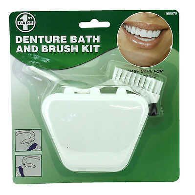 Denture Bath Retainer And Brush Clean Hygiene Protect Wash Kit