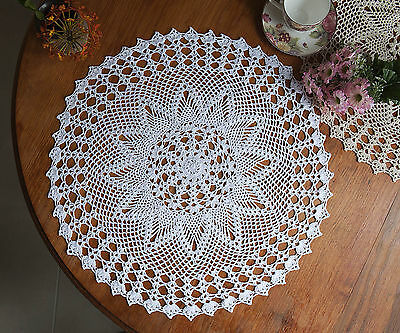 Hand Crochet Lace Doily Placemat Doilies Tablecloth Cotton Round 60CM White/Ecru