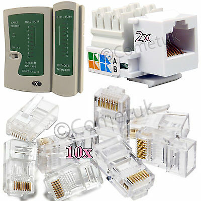 RJ45 Cat5e Cat6e Cat7 Ethernet Cable Tester Connector Keystone Jack Network Kit