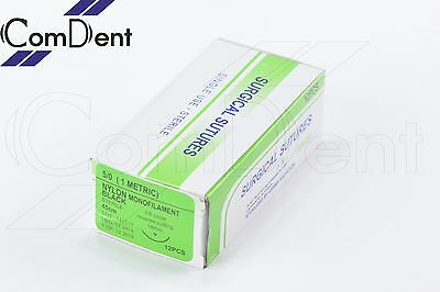 12PC Sutures 5/0 Black Monofilament 45cm For Training Use Only Medical Vet Nurse
