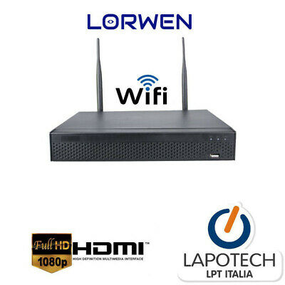 KIT COMPLETO NVR 8ch 1080P INGRESSO HDMI + ONVIF 4 CAMERE 960P 2 MPX 1080P 2 MP