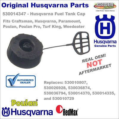 530014347 OEM Husqvarna Fuel Cap Assembly w/Retainer - Fits Trimmers and Blowers