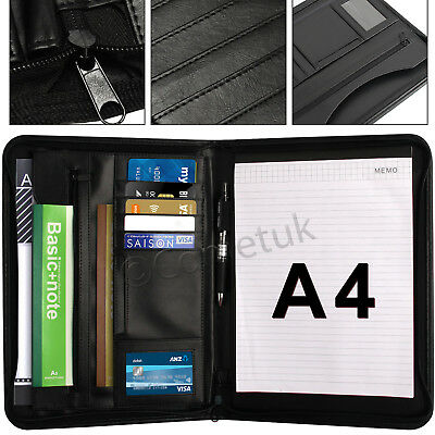 A4 Zipped Conference Folder PU Leather Document Case Office Portfolio Organizer