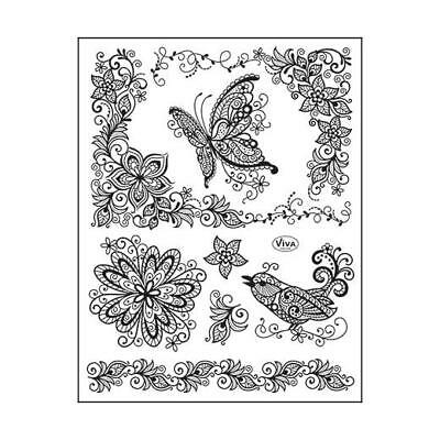 Viva Decor A5 Clear Silicone Stamps Set - Scribble Butterfly #77